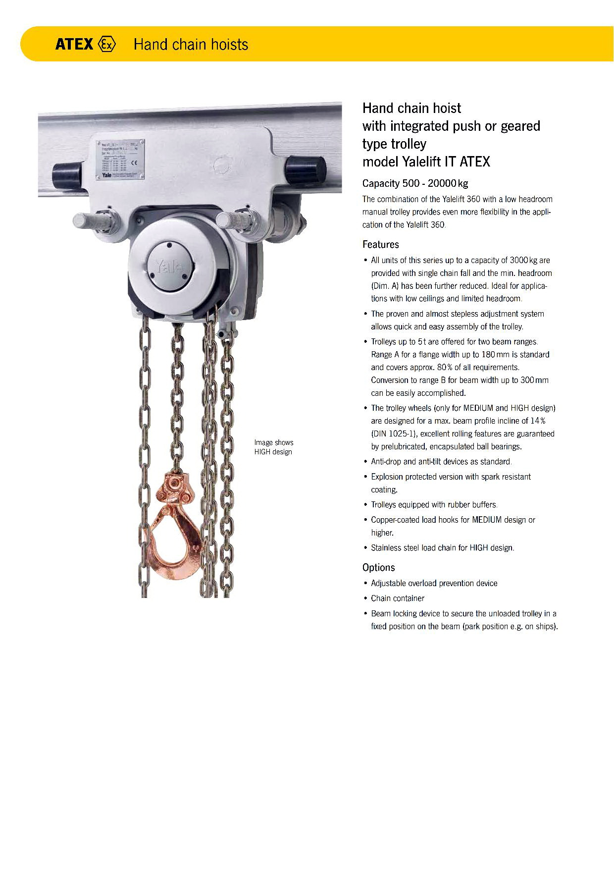 Yale Hand Chain Hoist with integrated push or geared type trolley Model Yalelift IT ATEX
