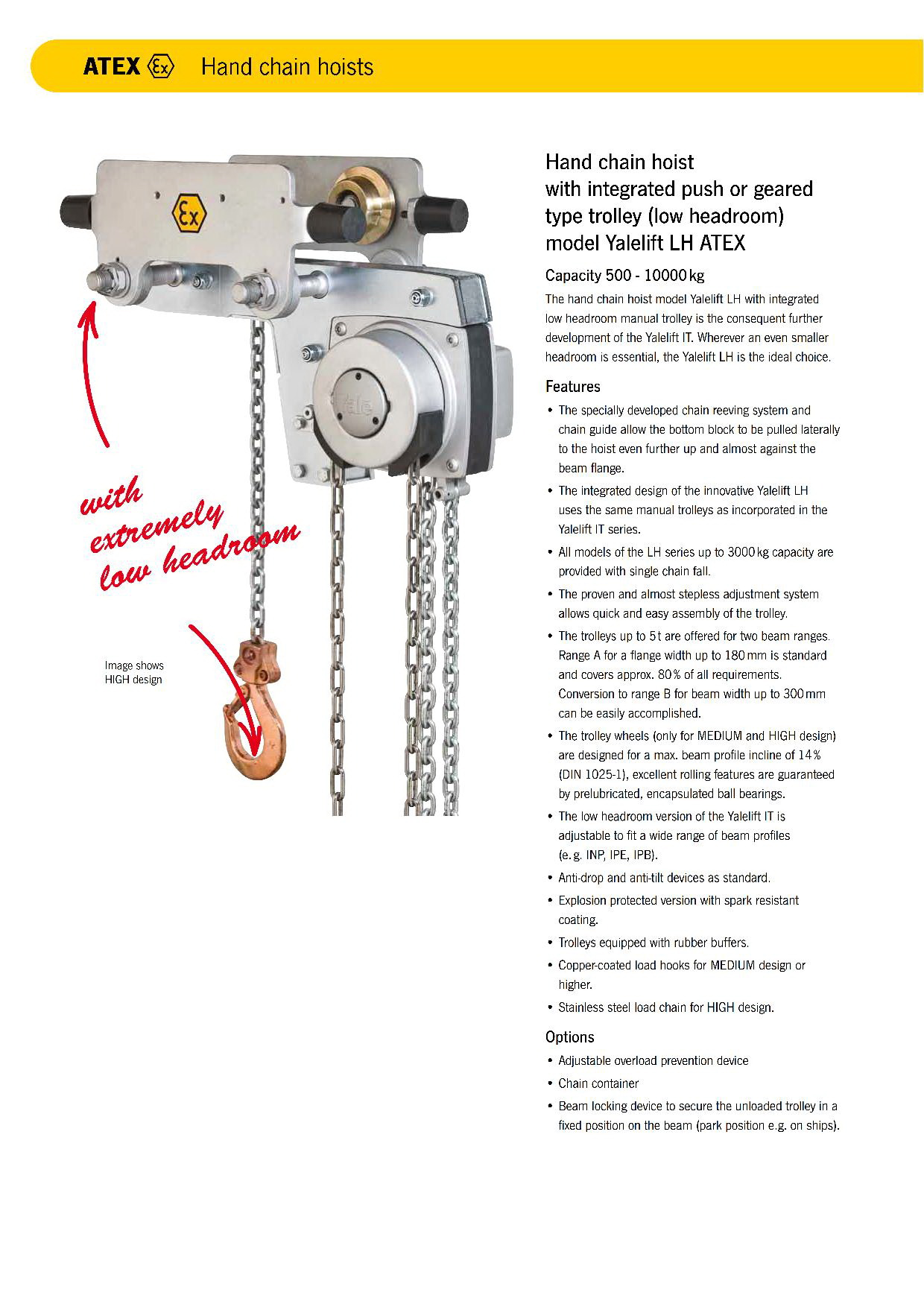 Yale Hand Chain Hoist with integrated push or geared type trolley (low headroom) Model Yalelift LH ATEX